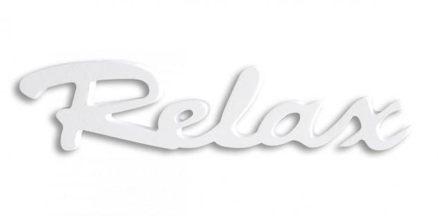 Schriftzug Relax weiß Holz zum Hängen Wandobjekt Dekoration