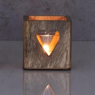 2er Set Windlicht Stern Herz 9cm Mangoholz Teelicht Teelichthalter Kerze Glas - Vorschau 5