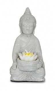 Teelichthalter Buddha Figur Beton 15cm hoch Zement Lotusblüte Kerzenhalter