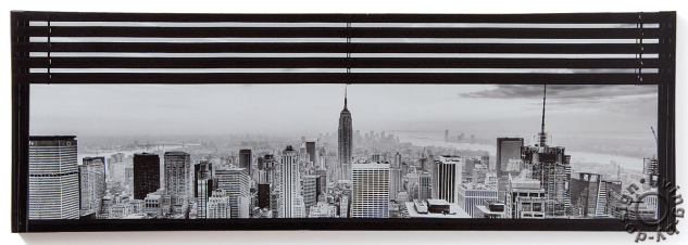 wandbild usa new york fenster manhattan leinwandbild. Black Bedroom Furniture Sets. Home Design Ideas