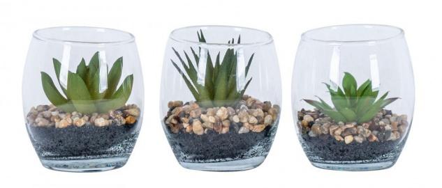 3er Set Sukkulenten Glas 6, 5x8, 5cm Pflanze Grün Tischdeko Kunstpflanze Deko Vase
