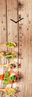 Wanduhr Glas 20x60cm Kräuter Gewürze Löffel Uhr Glasbild Küche Küchenbild Deko