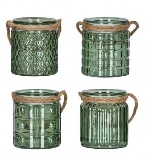 4er Set Windlicht H10cm Glas Grün Khaki Teelichthalter Tischdeko Kerzen Deko