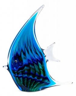 levandeo Glas Skulptur BxHxT 16x21x4cm Glasfigur Fisch Glaskunst Blau Maritim - Vorschau 2