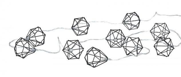 10er Lichterkette LED Metall Schwarz Polygon Diamant Licht Timer Deko Industrial