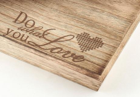 2tlg Dekotablett Set Holz Tablett Do What You Love Servierbrett Natur - Vorschau 4