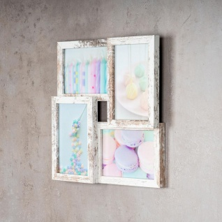 levandeo Bilderrahmen Collage 28x28cm 4 Fotos 10x15 Shabby Chic MDF Holz Glas - Vorschau 3