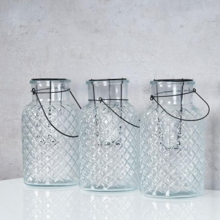 3er Set Windlicht H26cm Glas Laterne Weiß Gartenleuchte Kerzenhalter Garten Deko - Vorschau 3