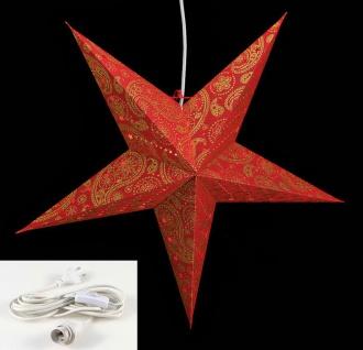 Leuchtstern 5 Zacken rot gold 60cm Papiertstern Weihnachten inkl Kabel