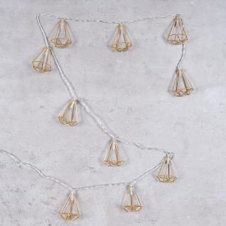 10er Lichterkette LED Metall Gold Diamant Licht Beleuchtung Deko Industrial - Vorschau 3