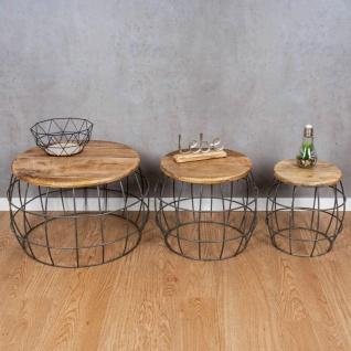 3er Set Couchtische Mango Rund Natur Eisen Schwarz Design Holz Beistelltisch - Vorschau 4