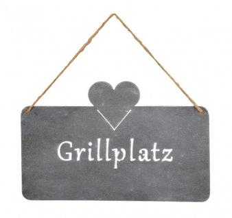 Schild Grillplatz 25x16cm Herz Garten-Deko Türschild Betonoptik Grau Wandbild