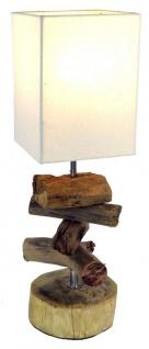Tischlampe 15 x 50 x 15 cm Treibholz Tischleuchte Holz Lampe Teakholz Deko