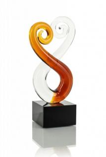 Designer Skulptur aus Glas Design Glasskulptur Unikat gold 15x5cm