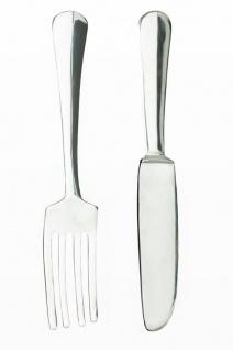 Dekobesteck aus Aluminium silber - Deko Gabel und Messer - Wanddeko