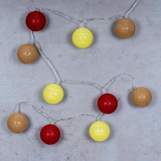 10er Lichterkette LED Ø6cm Kugeln Girlande Lampions Baumwolle Rot Gelb Deko - Vorschau 2