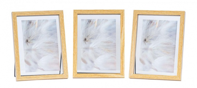 3er Set Bilderrahmen Aufsteller 10x15 Holz Eiche-Optik Metall Glas Fotorahmen