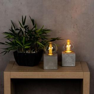 2er Set Tischleuchte 8x16cm LED Glühbirne Beton Tischlampe Deko Retro Tischdeko - Vorschau 3