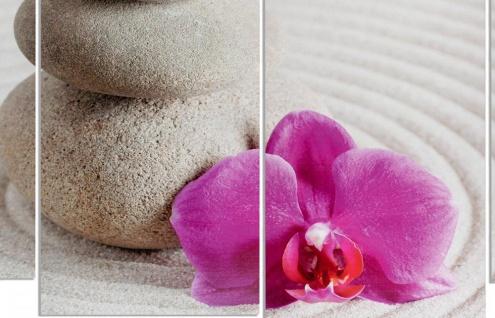 Wandbild 4 teilig Sand Wellness rosa Orchidee Feng Shui Bild Leinwand - Vorschau 2