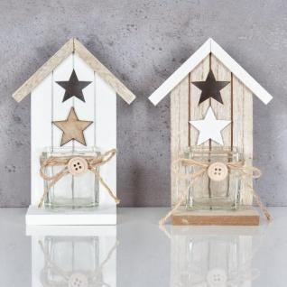 2er Set Teelichthalter H16, 5cm Glas Windlicht Stern Weiß Taupe Haus Holz Deko - Vorschau 2