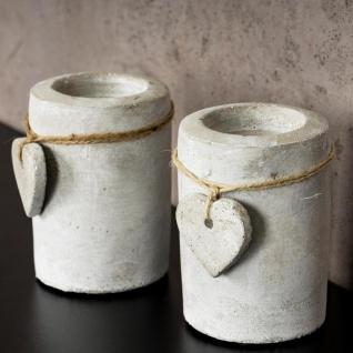 2er Set Teelichthalter Beton je 10cm hoch Kerzenhalter Kerzenständer Tischdeko - Vorschau 4