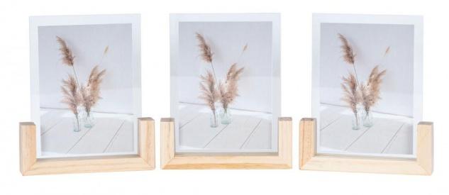 3er Set Bilderrahmen Aufsteller 13x18 Holz Glas Fotorahmen Einzelrahmen Deko