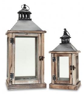2tlg. Laternen Set Holz natur braun Metall Glas Shabby Chic Garten - Vorschau 1