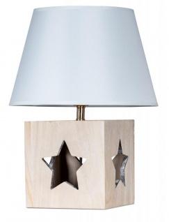 Lampe Tischlampe H41cm Holz Holzlampe Stern Leuchte Deko Tischleuchte Tischdeko