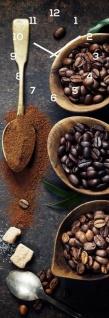 Wanduhr Alu-Dibond 20x60cm Braun Kaffee Coffee Alu-Uhr Küche Bild Cafe Wanddeko
