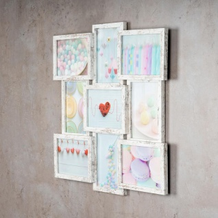 levandeo Bilderrahmen Collage 52x52cm 9 Fotos 13x18 Shabby Chic MDF Holz Glas - Vorschau 3