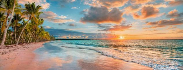 levandeo Glasbild 30x80cm Wandbild Glas Beach Hawaii Strand Deko Wanddeko