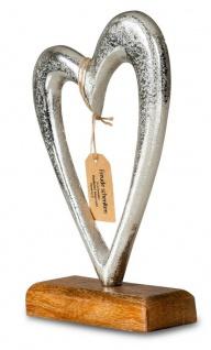 Designer Skulptur Herz H23cm Silber Mango Holz Tischdekoration Wohndekoration