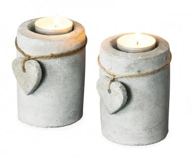 2er Set Teelichthalter Beton je 10cm hoch Kerzenhalter Kerzenständer Tischdeko