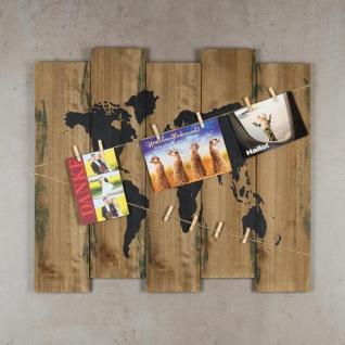 Wandbild Weltkarte 60x53cm Holz Braun 10 Klammern Bilderrahmen Schild - Vorschau 4