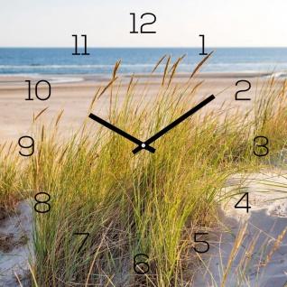 Wanduhr Glas 30x30cm Strand Meer Düne Glasuhr Uhr Glasbild Natur Bild Wanddeko