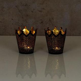 2er Set Teelichthalter Krone Schwarz Gold H11cm Metall Windlicht Kerzenhalter - Vorschau 5