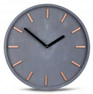 Hochwertige Beton-Uhr Wanduhr 30cm Grau Kupfer Uhrzeit modern Wanddeko