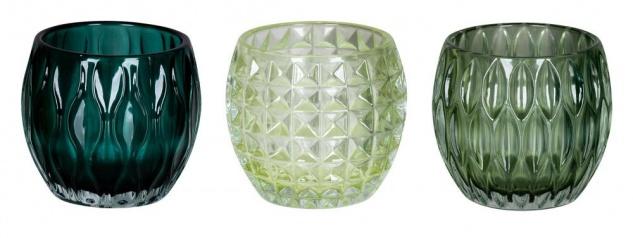 3er Set Windlichter 10x8, 5cm Grün Glas Deko Teelichthalter Kerze Tischdeko Retro