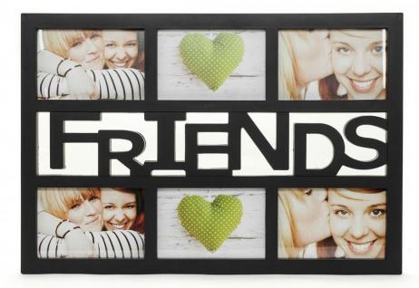 Bilderrahmen schwarz Schriftzug FRIENDS 6 Fotos Fotogalerie Collage