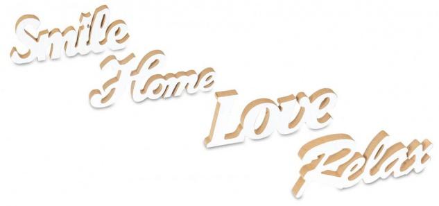 4er Set Schriftzug Relax Home Smile Love L25cm Holz Shabby Chic Tischdeko