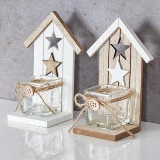 2er Set Teelichthalter H16, 5cm Glas Windlicht Stern Weiß Taupe Haus Holz Deko - Vorschau 3