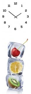 Wanduhr aus Glas 20x60cm Uhr als Glasbild Eiswürfel Obst Früchte Küche