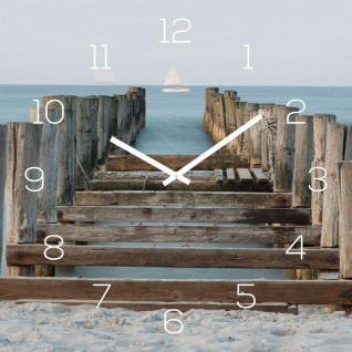 Wanduhr Alu-Dibond 30x30cm Uhr Alubild Strand Meer Steg Urlaub Wanddeko Deko