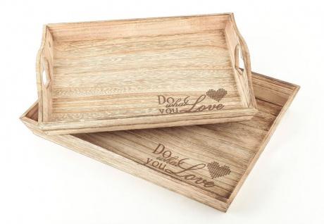 2tlg Dekotablett Set Holz Tablett Do What You Love Servierbrett Natur