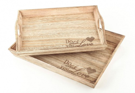 2tlg Dekotablett Set Holz Tablett Do What You Love Servierbrett Natur - Vorschau 1