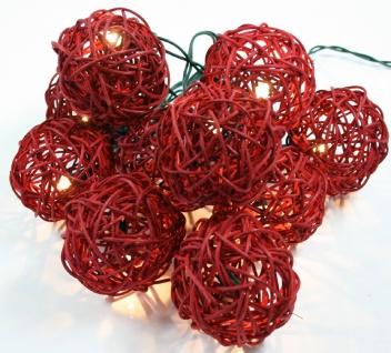Rattan Ball LED Lichterkette Rot Handarbeit 2, 5 Meter 20 Rattanbälle