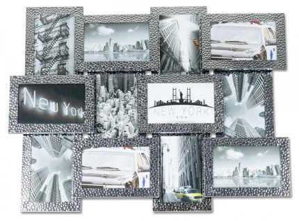 Bilderrahmen 12 Fotos 10x15cm Aufsteller Silber Aluminium Collage Fotorahmen