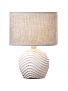 Tischlampe Keramik 28cm hoch Sand Jute LIcht Lampe Shabby Chic Landhaus