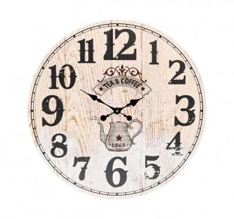 XXL Wanduhr 58 cm Rund Großuhr Beige Holz Vintage Coffee Tea Uhr Küchenuhr