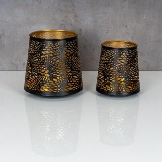 2er Set Teelichthalter Schwarz Gold H19 cm Metall Windlicht Design Kerzenhalter - Vorschau 2